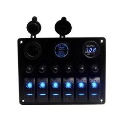 Des Boots-Auto-Marineschalter-Panel-6 Schalthebel-Leerzeichen-Schalter-Panel Gruppe-Metalldes vorstand-LED mit Zigaretten-Kontaktbuchse-u. USB-Energien-Aufladeeinheit der Sicherungs-&Digital Voltmeter+12V