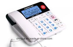大きいボタンの電話、老化させた電話、電話、大きいキー、ボタン電話を使用している高齢者達