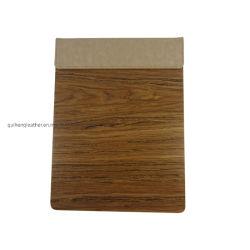 Similicuir marron avec plaque en bois lisse tel pad et notes