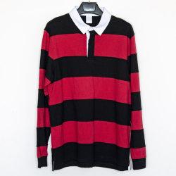 Дешевые моды настроенных мужчин Cut-Sew полосы длинной втулки Футболка Поло