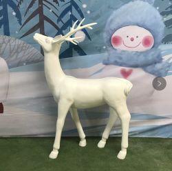 La decoración de arte moderno Inicio Jardín de esculturas de tamaño de la Vida Animal de la pantalla de Navidad Ciervo Blanco de fibra de vidrio estatua