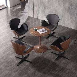 Nordic Leisure Lazy バックレストモダンシンプルコーヒーショップ家具木製 革 Swan の椅子
