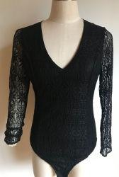 As rendas de nylon de algodão moda mulheres Senhoras Blusa Suéter Manga Pulôver Borders