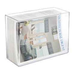 Libro personalizado de metacrilato transparente acrílico/revistas/periódicos/Álbum de fotos/Pamph Organizador y soporte de almacenamiento en caso de contador o estantería