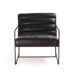 Acabado del Cuero Vintage estilo Vintage Industrial el bastidor de acero del tubo de asientos de ocio Sillón