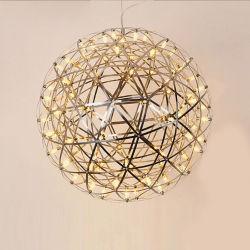 2020 Novo Lustre em aço inoxidável moderno esfera faísca Lâmpada pendente LED de Fibra Óptica