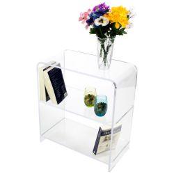 Comercio al por mayor costumbre de perspex transparente acrílico/Libros/revistas/periódicos Álbum de fotos/Pamph Organizador y titular de la tabla de almacenamiento Rack
