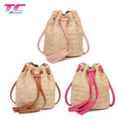Nieuwe Trendy Ins van de Zak van het Strand van het Stro Stijl Dame Handmade Rattan Shoulder Handbag met Leeswijzer voor Vrouwen