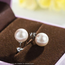 Mode Femmes Bijoux 925 Sterling Silver Earrings Pearl Stud Earrings