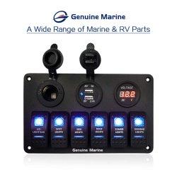Panel de interruptores de balancín resistente al agua con el fusible azul LED Pantalla Digital USB Cargador encendedor de cigarrillos de instrumentos