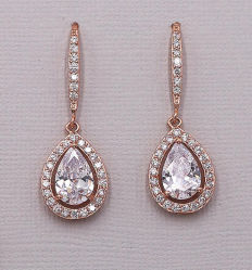 花嫁CZのイヤリングの宝石類、結婚のイヤリングの宝石類、新婦付添人のイヤリングの宝石類、ギフトのイヤリングの宝石類