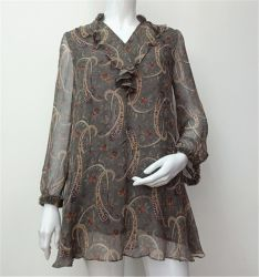 Новейшие разработки дамы печати длинной втулки с цветочным рисунком шифон Топс блуза для летнего