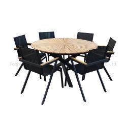 현대적인 Sun-Shape 테이블 가든 라운드 다이닝 Sun teak Wood 탑 식사 테이블