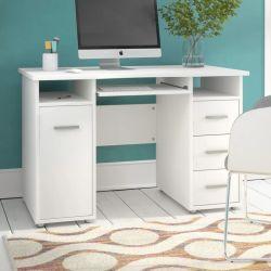 Houten witte computertafel met lade (HF-WF04292)