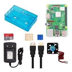 Raspberry pi 3b+ Kit, y compris 3b+ du ventilateur du dissipateur de chaleur&+CARTE SD++fil HDMI+Chargeur+Cas