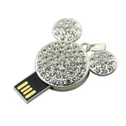 Geheugen het Van uitstekende kwaliteit van de Flits van de Juwelen USB van de Stok van de Vorm USB van het Kristal Keychain van China 4GB 8GB