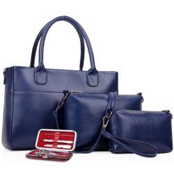 Conjunto elegante clássico da moda sempre mulheres PU bolsas de couro
