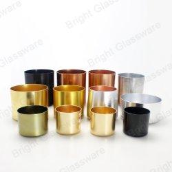 Commerce de gros Pot bougie rond en aluminium personnalisé bougeoir avec couvercles