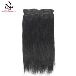 Alinybeauty 1b черного цвета шелковистой прямой волны Реми прибора Clip в волосы Extensions