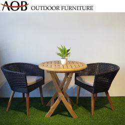 Zeitgenössisches im Freiengarten-Kaffee-Hotel-Stab-Möbel-Teakholz-Unterseiten-Rattan-Weidenbalkon-Sets mit hölzernem Tisch
