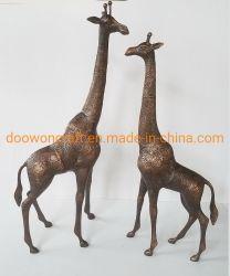 Escultura animales Jardín Casa decoración artesanal de aluminio de la familia de la jirafa