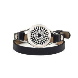 Braccialetto Pendant del cuoio del pacchetto di Aromatherapy DIY del braccialetto del profumo dell'acciaio inossidabile