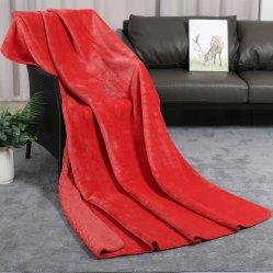 100%年のポリエステル極度の暖かい固体Sherpaのフランネル毛布2つの層