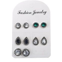 Éblouissant Blue-White-Black Crystal Gem Bohemian Earrings