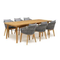 Insieme di tessitura della Tabella pranzante del teck di svago della mobilia della corda resistente all'intemperie esterna del giardino