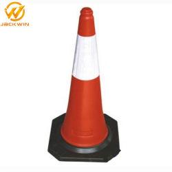 Dubai UAE Standard 500/750/1000mm PE Traffic Cone مع قاعدة مطاطية سوداء
