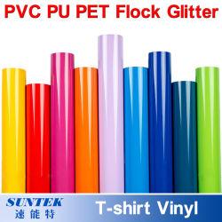 PU/PVC/Pet/Glitter/Flock/Fluorescent het Vinyl van de Film van de Druk van de Overdracht van de Hitte van de T-shirt