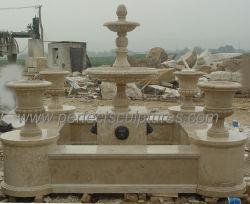 2 zwei Reihe-goldener Marmorwasser-Brunnen mit geschnitztem Blumen-Potenziometer und Urne (SY-F308)