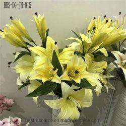 Wert-nehmen Silk künstliche grünliche Lilien-Blume Kopf 3 ein Bündel Tulpen
