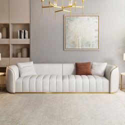 Itália moderno Luz Design Luxury Home móveis sofá de couro Golden Aço Inoxidável Pés