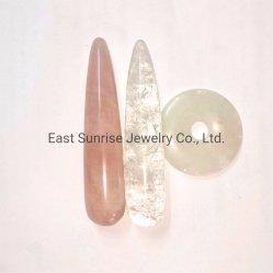 Piedra preciosa semi Crystal de Cuarzo Rosa Natural Masaje varitas