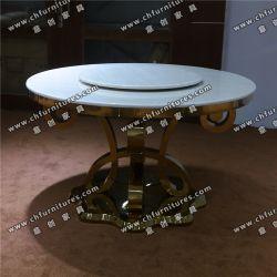 Marmo o vetro temperato acciaio inossidabile cromo argento Louis Dining Tabella Yc-St30