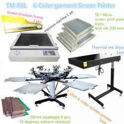 manuelle Textilbildschirm-Drucken-Maschine des Karussell-6-Color