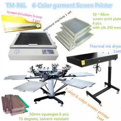 Manual de 6 colores de la máquina de serigrafía textil carrusel