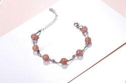 Cristal Rosa Esticar Peach Blossom bracelete S925 Sterling Silver bracelete de cristal de morango de Dupla Camada