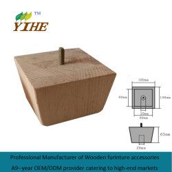 Piedino di legno del sofà nella figura esterna del piede quadrato del panino affusolato