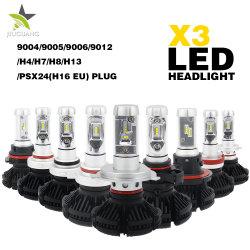 الجملة 9004 9005 9006 9007 H4 H11 H13 H7 Super لمبة المصباح الأمامي Bright 12000lm 50 واط باللون الأسود X3 LED