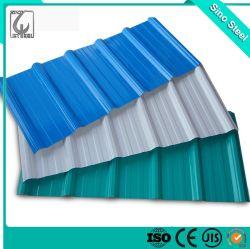 A cor padrão de madeira fina camada de zinco onduladas PPGI Galvan Telha de aço preço de fábrica da folha do tecto