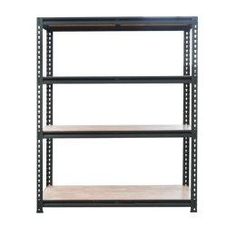 Revestimiento de polvo negro estantes Estante ajustable de almacenamiento con madera