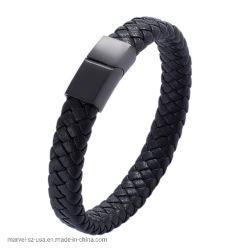 Förderung-Geschenk-Schwarz-magnetische Haken-Mann-umsponnene lederne Armband-Form-Schmucksachen