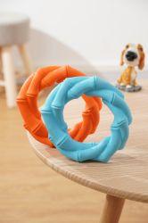Caoutchouc résistant Dog Toy anneau bambou