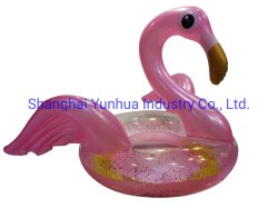 Shinny Pearl Pink Inflatable Flamingo Wings and Gloden glitters 付きの Swim Ring