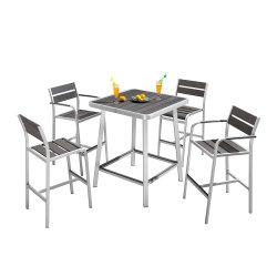 Hölzerne Aluminiumgarten-Bistro-Polyhöhe, die gesetzten Stab-Tisch und Stuhl-Set speist