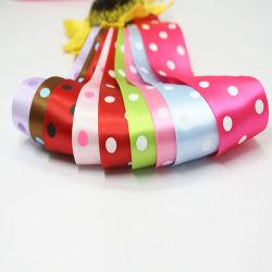 Ruban en polyester avec impression de points pour ruban de fleurs cadeaux