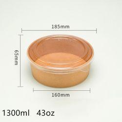 Ciotola asportabile a gettare ecologica del Kraft della benna della minestra della ciotola di carta che decompone casella asportabile che ispessisce la casella di pranzo su ordinazione