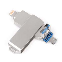 Hoge snelheid 3 in 1 Aandrijving van de iPhone32GB USB Flits van het Metaal OTG USB3.0